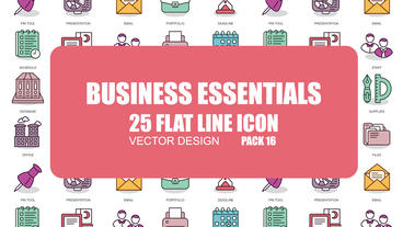 Business Essentials - 25 Flat Line Icons After Effects Template