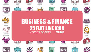 Business And Finance - 25 Flat Line Icons After Effects Template