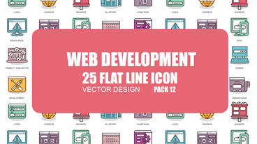 Web Development - 25 Flat Line Icons After Effects Template