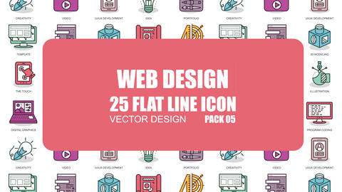Web Design - 25 Flat Line Icons After Effects Template