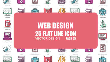 Web Design - 25 Flat Line Icons Plantilla de After Effects