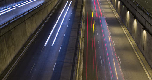 Night scene of urban traffic.Time Lapse - Trail effect - Long exposure 영상물