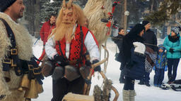 Razlog, Bulgaria January 12, 2019: Kukeri, mummers, traditional Bulgarian winter Footage