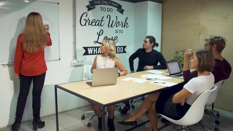 Diverse businesspeople meeting brainstorming team. Girl in red shirt presenting Footage
