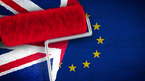 UK EU Brexit - repainting flag on the wall Animation