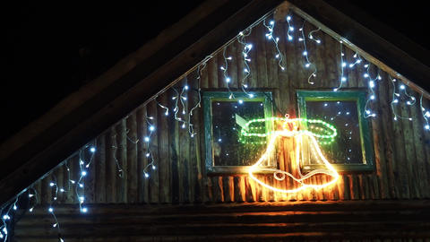 House decorated with lights for Christmas. Christmas... Stock Video Footage