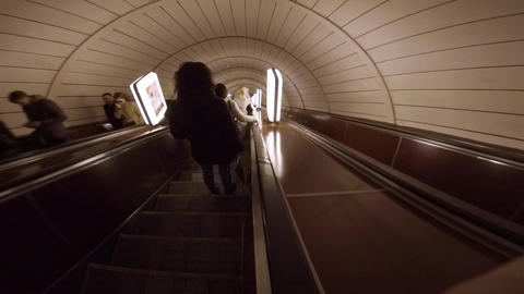 Accelerated descent on the long escalator of the Kiev underground Live Action