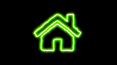 The appearance of the green neon symbol home. Flicker, In - Out. Alpha channel Animation