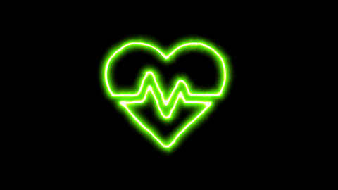 The appearance of the green neon symbol heartbeat. Flicker, In - Out. Alpha Animation