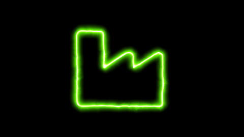 The appearance of the green neon symbol industry factory. Flicker, In - Out. Animation