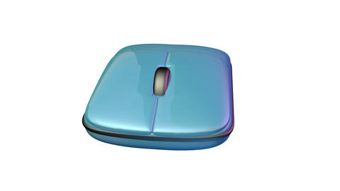 Computer mouse rotating. Blue color. Isolated on white... Stock Video Footage