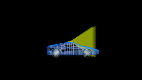 Autonomous wireframe self driving car with lidar scan signal. 3d animation Animation