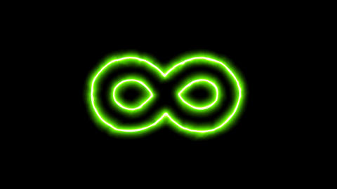 The appearance of the green neon symbol infinity. Flicker, In - Out. Alpha Animation