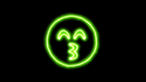 The appearance of the green neon symbol kiss beam. Flicker, In - Out. Alpha Animation