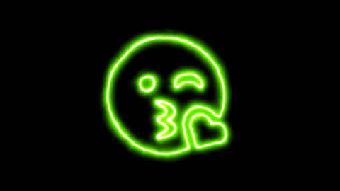 The appearance of the green neon symbol kiss wink heart. Flicker, In - Out. Animation