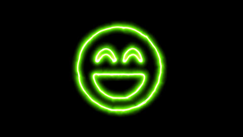The appearance of the green neon symbol laugh beam. Flicker, In - Out. Alpha Animation