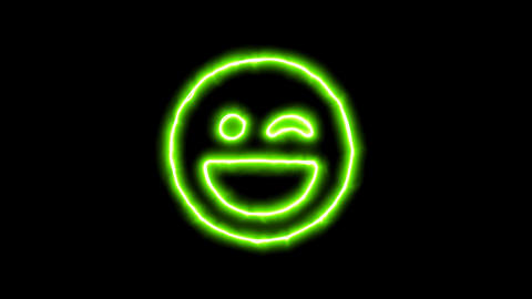 The appearance of the green neon symbol laugh wink. Flicker, In - Out. Alpha Animation