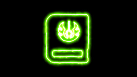 The appearance of the green neon symbol jedi book. Flicker, In - Out. Alpha Animation