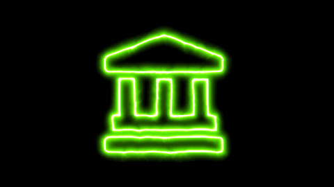 The appearance of the green neon symbol landmark. Flicker, In - Out. Alpha CG動画