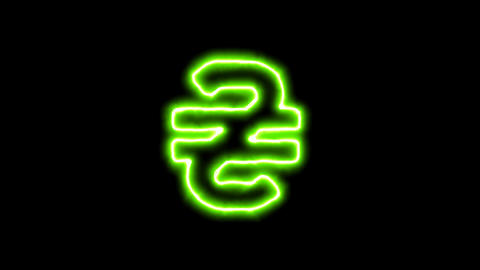 The appearance of the green neon symbol hryvnia. Flicker, In - Out. Alpha 애니메이션