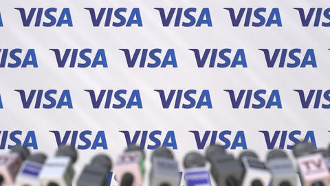 Media event of VISA, press wall with logo and microphones, editorial animation Footage