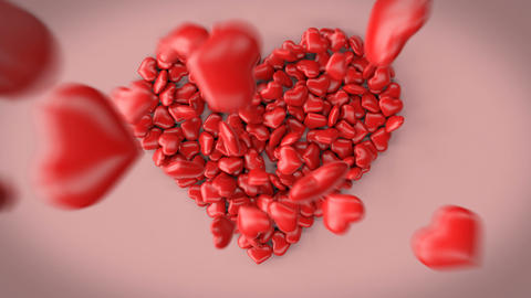 3d animation of a big heart made of little hearts Animation
