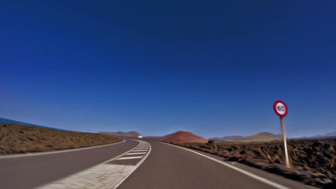 car driving through rural roads in Lanzarote, Canary Islands, Spain. High speed. Animation