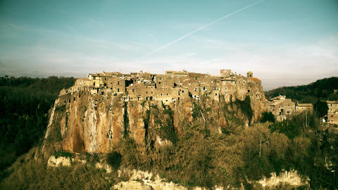Aerial view of comune and town of Calcata centre built on high rock. Lazio Live Action