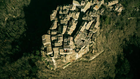 Aerial shot of town of Calcata centre built on high rock. Lazio, Italy Live Action