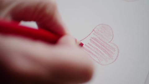 Hand drawing heart by red pencil for Valentine's day Footage