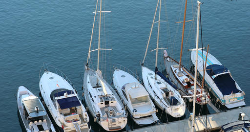 Aerial View Of Luxurious Sailing Yachts Moored In The Port Of Fontvieille In Archivo