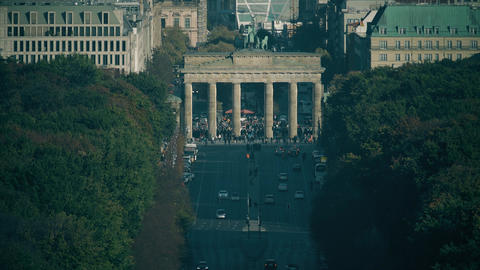 Crowded tourist place near famous Brandenburg Gate, one of the most visiting Live Action
