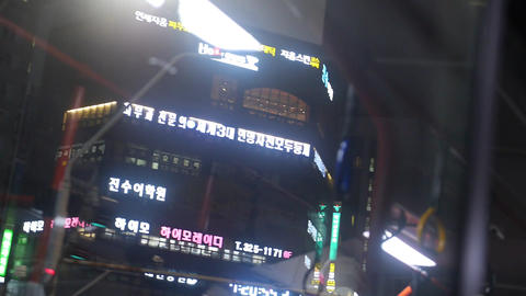 Cityscape seoul night bus 02 Footage