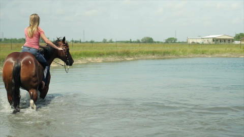 girl taking her horse in deep water Footage