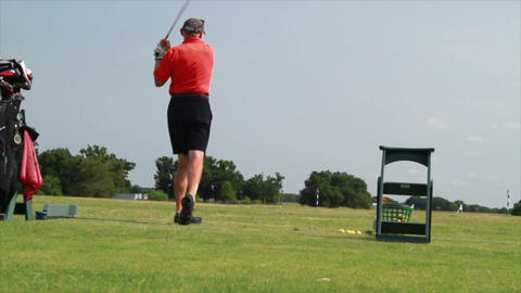golfer practicing wide shot Footage