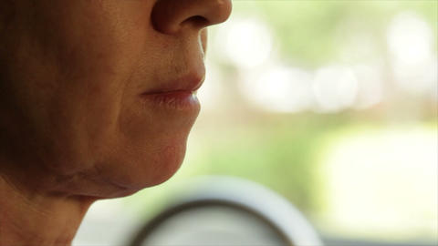 Close-up Of Woman Taking A Pill stock footage