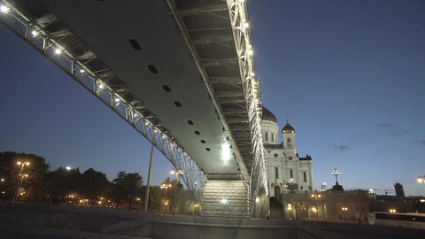 Cathedral Of Christ The Saviour And Bridge Footage