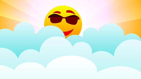 Sun in bouncing clouds - smiling sun Animation