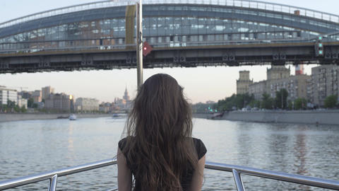 Girl Travel In Sightseeing On Boat Tour Footage