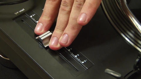 Hands of a DJ and mix music that moves buttons during a concert show social even Footage