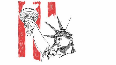 Statue of Liberty hand drawn brush sketching with USA flag Animation