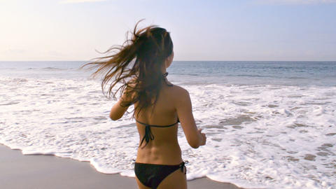Beautiful Woman At The Beach Slow Motion Archivo