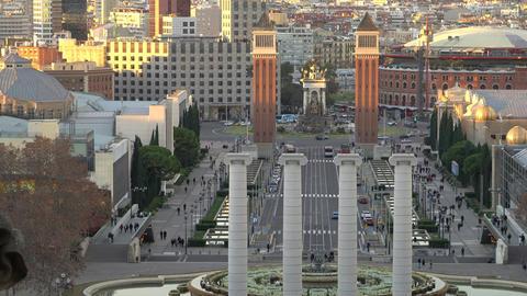 BARCELONA, SPAIN - CIRCA 2019: Morning in Barcelona Plaza de Espana, Plaza of Archivo