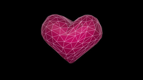 Seamless animated background of wireframe 3d heart.Modern cgi animation. Animation