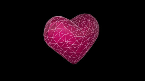 Seamless animated background of wireframe 3d heart.Modern... Stock Video Footage