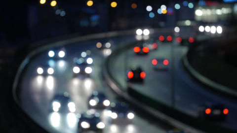 Bokeh car light at night. Out of focus traffic lights 영상물