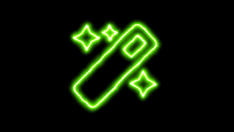 The appearance of the green neon symbol magic. Flicker, In - Out. Alpha channel Animation