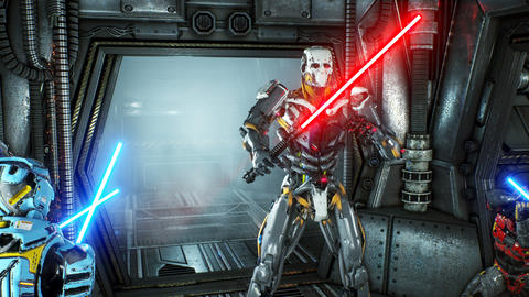 Astronauts with laser swords hid in an ambush on an alien robot invader on his GIF