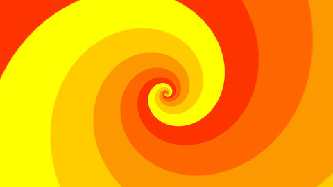 Psychedelic spiral in orange and yellow. Twirl vortex hypnotic spiral background Animation