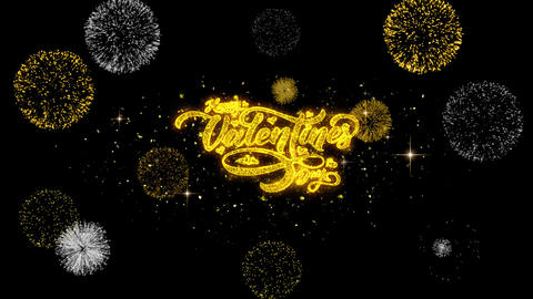 Happy Valentines day love heart Golden Text Particles with Fireworks Display GIF